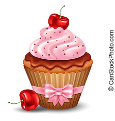 Cherry cupcake with cream and chocolate. Vector...