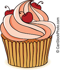 Hand drawn cupcake with cherries. EPS 8 CMYK with global colors vector illustration.