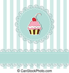 Cherry cupcake invitation card on seamless pattern...