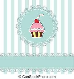Cherry cupcake invitation card on seamless pattern...