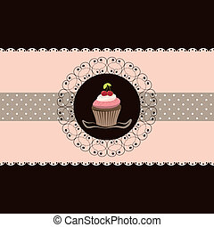 Cherry cupcake invitation card pink brown background