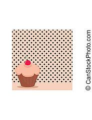 Cherry cupcake on black polka dots