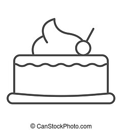 Cherry cupcake thin line icon. Cake with cherry vector illustration isolated on white. Sweet outline style design, designed for web and app. Eps 10.