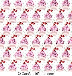 Cherry cupcakes pattern