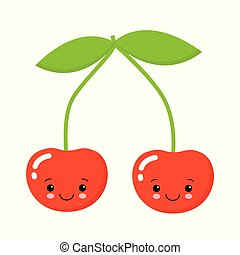 Cherry. Cute fruit vector character isolated on white