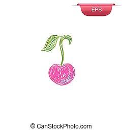 cherry, design element, sketch