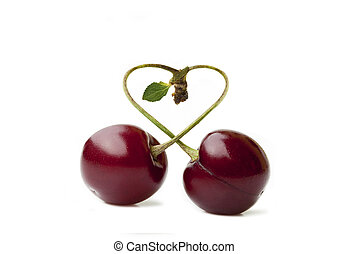 Cherry duo with stem and Leaf isolated on white