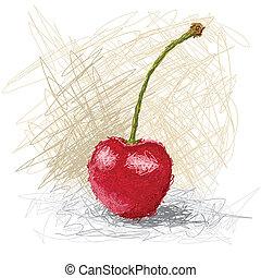 cherry - closeup illustration of a fresh strawberry fruit.