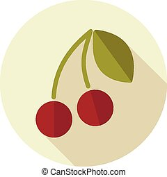 Cherry flat icon with long shadow