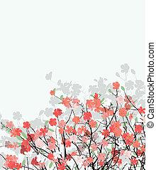 Cherry flower card