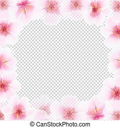 Cherry Flower Frame With Transparent Background