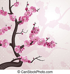 Cherry flowers. Card with spring blossom.