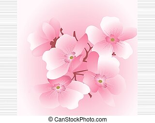cherry flowers on a striped background