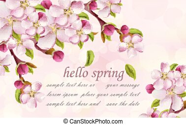 Cherry flowers Spring background Vector. Pink floral branches with place for texts