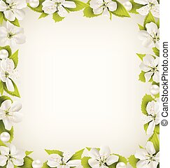 Cherry flowers with pearl beads like frame on beige background