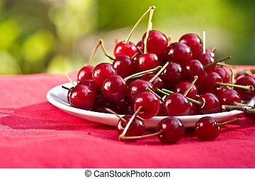 cherry - food series: freshly grown tasty red cherries