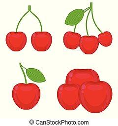 Cherry fruit icon isolated