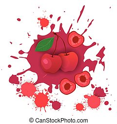 Cherry Fruit Logo Watercolor Splash Design Fresh Natural Food