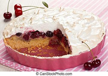 Homemade cherry fruit meringue tart in pink bowl