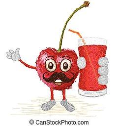 cherry fruit mustache