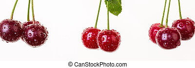 cherry, hanging, rope, white background