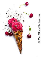 Cherry ice cream scoops in a cone