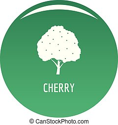 Cherry icon vector green
