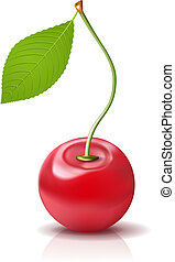 Vector Cherry Icon. Ripe berry with leaf on white