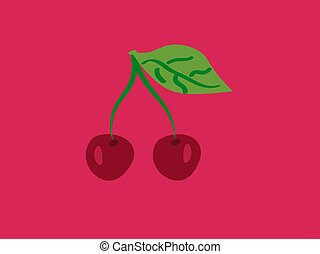 Cherry, illustration, vector on white background.