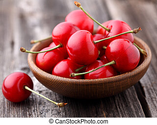 Cherry in a wooden plate