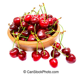 Cherry in bowl isolated on white background