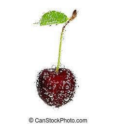Cherry in bubbles