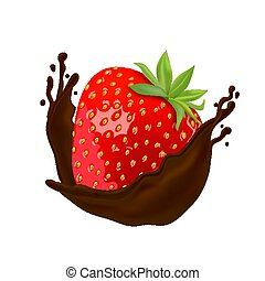 Cherry in hot chocolate on white background