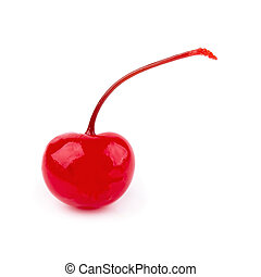 Cherry in syrup isolated on a white background