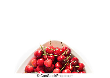 cherry in the white plate
