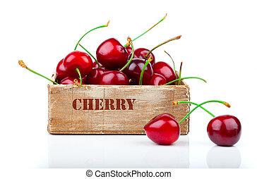 cherry in the wooden box, isolated on white background