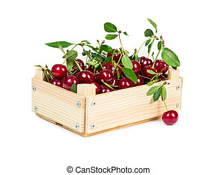 Cherry in wooden box
