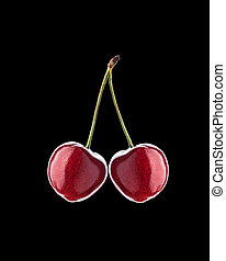 Cherry isolated on black background