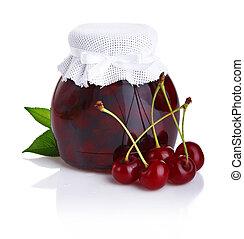Cherry jam isolated on white background