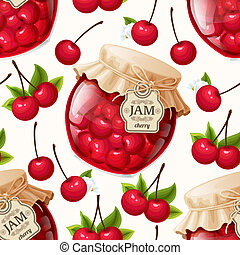 Natural organic cherry berries jam jar and leaves seamless pattern vector illustration