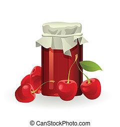 Cherry jam with fresh cherries