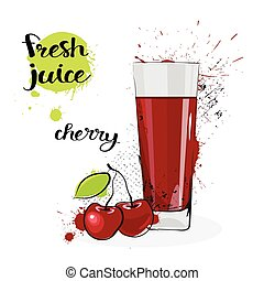Cherry Juice Fresh Hand Drawn Watercolor Fruit And Glass On White Background