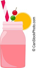 Cherry juice, illustration, vector on white background.