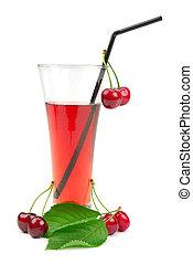 Cherry juice isolated on white background....