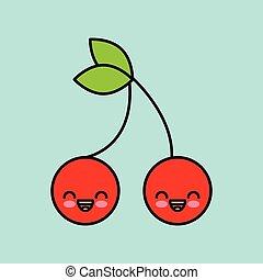 cherry kawaii icon design