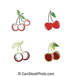 Cherry logo vector icon illustration