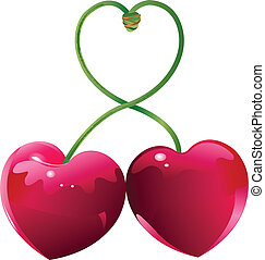 Cherry love - Two Cherry hearts and cherry sticks shows a ...
