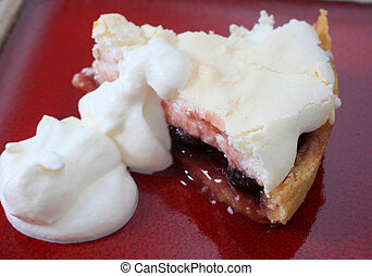 Cherry meringue pie slice