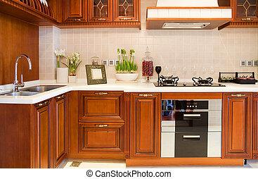 Cherry modern kitchen - Luxury cherry modern kitchen
