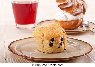 Cherry Muffin on a plate